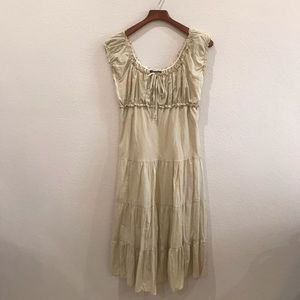 Maxi peasant style top tiered tan dress size 1X